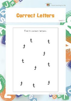 "In the ""Correct Letters"" worksheets, the student must find 5 correct letters in amongst the reversed letters.  Available at www.visuallearningforlife.com on the Visual Perceptual Skills Builder Level 1 CD."