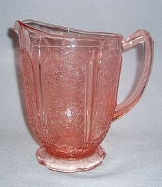 Old Pink Cherry Blossom Depression Glass Footed Pitcher Scalloped Base