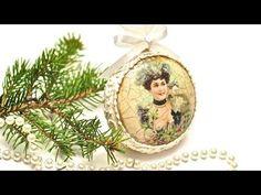 Новогодний медальон Decoupage medalion świąteczny DIY TUTORIAL
