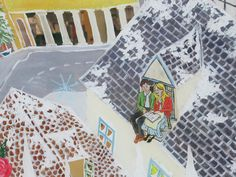 Snow Queen window mural detail - Gerda and Kay on the rooftops