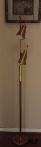 Atomic-Mid-Century-Modern-Bullet-Pole-Floor-Lamp-Gold-Wood-Cone-63-034 Gold Floor Lamp, Gold Wood, Mid-century Modern, Bullet, Lamps, Mid Century, Flooring, Lighting, Lights