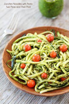Zucchini Noodles with Pesto Recipe   www.twopeasandtheirpod.com