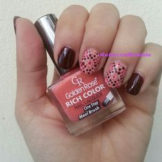 Recreated Cutepolish Dotticure Mani with almost the same colours using Golden Rose- Rich Color #06
