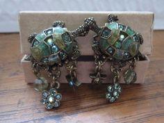 Vintage KIRKS FOLLY Enamel and Rinestone Turtle Earings #KirksFolly