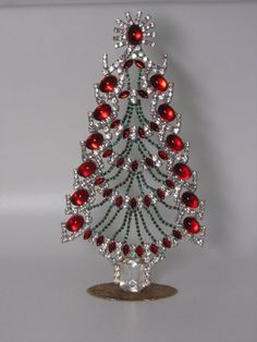 Magnificent Vintage Rhinestone Table-Top Tree in Fabulous Design www.juvelovintage.com