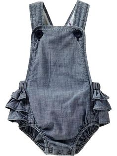 Chambray Ruffled-Romper Overalls for Baby. Adore.  A #CanDoBaby! fave.