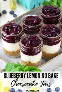 This Blueberry Lemon No Bake Cheesecake is an amazing dessert! Lightened up with a graham cracker almond crust, a sweet cream cheese lemony Greek yogurt layer, and a delightful homemade blueberry sauce. Desserts Blueberry Lemon No Bake Cheesecake Jars Mini Desserts, Mason Jar Desserts, Tolle Desserts, Cream Cheese Desserts, Blueberry Desserts, Mason Jar Meals, Cream Cheese Recipes, Keto Desserts, Summer Desserts