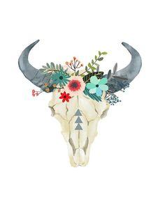 Bull Skull Printable Art Cow skull Tribal Art by PaperStormPrints Drawn Art, Hand Drawn, Bull Skulls, Skull Painting, Wow Art, Skull Art, Cow Skull Decor, Tribal Art, Wall Prints