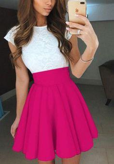 Rose Carmine Pleated Elastic Waist High Waisted Casual Skirt