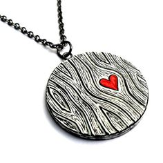 Wood Grain Heart Necklace, Woodgrain Jewelry, Valentine's Day Gift, Wood Anniversary Gift, Wife Gift, Girlfriend Gift, Faux Bois Jewelry
