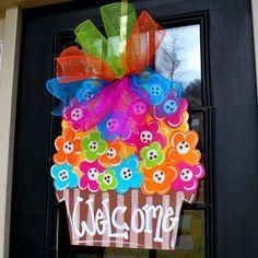 Door Hanger: Spring Door Decoration, Flower Door Hanger, Summer Door Hanger on Etsy, $45.00