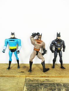 Set of 3 1990's Batman Figurines / Action Figures - Great Vintage Batman Gifts or Batman Decor. Awesome Vintage Batman Toys! by PrettyLeftovers on Etsy https://www.etsy.com/listing/541100919/set-of-3-1990s-batman-figurines-action