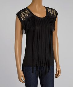 Another great find on #zulily! Farinelli Black Fringe Sleeveless Top by Farinelli #zulilyfinds