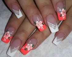 Make an original manicure for Valentine's Day - My Nails Beautiful Nail Art, Gorgeous Nails, Pretty Nails, Acrylic Nail Designs, Nail Art Designs, Nail Designs Spring, Long Acrylic Nails, Hot Nails, Flower Nails