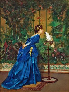 "Auguste Toulmuche ""Lady With A Parrot"""