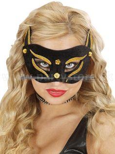 "Maska - škraboška "" Mačka "" čierno - zlatá"