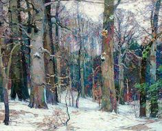 urgetocreate: John Fabian Carlson, Forest Silence, 1917 (via otterwerx) Painting Snow, Winter Painting, Abstract Landscape, Landscape Paintings, Impressionist Landscape, American Impressionism, Paintings I Love, Paintings Of Trees, Nature Paintings