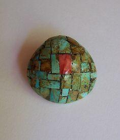Small Mary C Lovato inlaid shell and turquoise pendant * SANTO DOMINGO KEWA