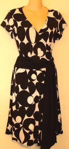 WOMENS AB STUDIO MACY'S BLACK WHITE JERSEY KNIT WRAP DRESS SASH BELT SIZE M #ABStudio #WrapDress #WeartoWork