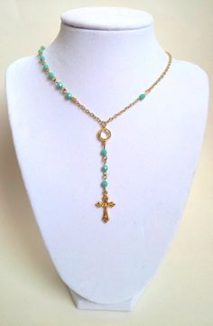 Gold Rosary Necklace Turquoise  Womens by divinitycollection, $40.00