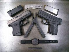Glock 26, XDs, SOG Slimjim, SOG PowerLock, Fisher Bullet Pen, Citizen EcoDrive #concealedcarry #concealment