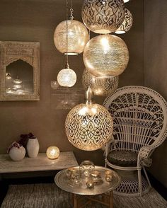 15 Fabulous Moroccan Room Decoration Ideas Moroccan interior is very exotic with the combination of strong colors for the accents and layers of textures and patterns. You will find the unique shape of furniture or decorations that will bring t Morrocan Decor, Moroccan Room, Moroccan Interiors, Moroccan Lanterns, Modern Moroccan Decor, Moroccan Lighting, Bohemian Lighting, Moroccan Pendant Light, Moroccan Lamp