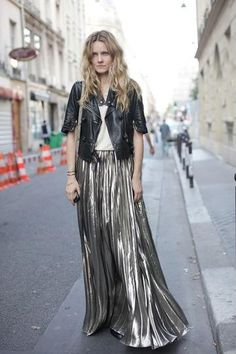 winter nighttime look: metallic maxi, white t-shirt, black leather moto jacket.