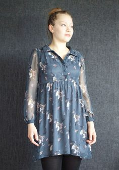 Yumi Dress /Tunic, Romantic Dress, Vitange Dress, Casual or Evening/ Chiffon