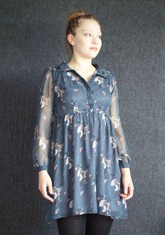 Yumi Dress /Tunic, Romantic Dress, Vitange Dress, Casual or Evening/ Chiffon