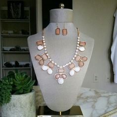 """Statement Necklace and Earring Set Gorgeous tan, white gold colorblock statement necklace with matching tan earrings. Great costume quality and goes well with any outfit!   Necklace is adjustable 16"""" with 3"""" extender. Earrings are approximately 1""""  NO TRADES. Jewelry Necklaces"""