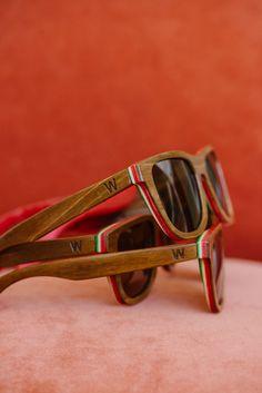 Woodzee Sierra - Repurposed Skateboard Sunglasses - Rasta Sunglasses.