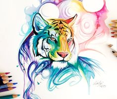 Tiger spirit by katy lipscomb art&design watercolor art, art Watercolor Tiger, Watercolor Paintings, Watercolor Tattoo, Painting Art, Colorful Drawings, Cool Drawings, Tattoo Drawings, Desenho New School, Tiger Art