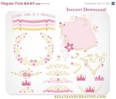 Every Girl is a Princess - Clipart with Floral Vines, Scrolls, Crowns and Heart Design Elements in pink and gold https://www.etsy.com/listing/160906200