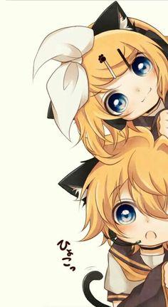 The Kagamine twins, Rin & Len, so cute...