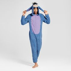 """""""Ohhh-kayyy."""" Channel your favorite gloomy donkey with this Eeyore Union Suit from Disney®. Made from a midweight fabric, this one-piece suit will keep you warm and comfortable as you dream of someday finding your tail again. It comes with a hood for head-to-toe coverage, complete with Eeyore's facial features, hair and ears. It is super easy to put on thanks to the front zipper."""
