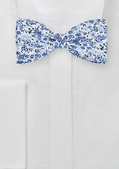 Self Tied Bow Tie with Light Blue Floral Print, $29.90 | Cheap-Neckties.com