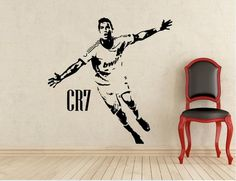 Celebrating the CR7 Cristiano Ronaldo football  home decal removable murals room decoration -- You can find more details by visiting the image link. #HomeDecor