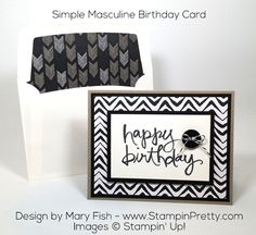 Quick masculine birthday card using Go Wild Designer Series Paper and Watercolor Words stamp set - Design by Mary Fish, Independent Stampin' Up! Demonstrator.  Details, supply list and more card ideas on http://stampinpretty.com/2015/10/watercolor-words-masculine-birthday-card.html