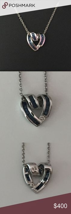 Charles Krypell Sapphire Heart Pendant w/ Diamond Charles Krypell Sapphire Heart Pendant with Diamond. Worn but in excellent condition. Will send in nice jewelry box. Charles Krypell Jewelry Necklaces