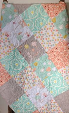Baby Girl Quilt,The Littlest, Rapture, Girl About Town, Bunnies, Coral, Mint, Pastel, Baby Blanket, Baby Bedding, Crib Bedding,Nursery Quilt...