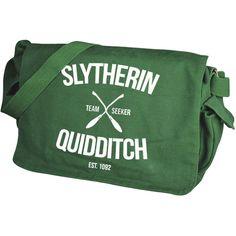 Slytherin Quidditch Green Messenger Bag ($41) ❤ liked on Polyvore featuring bags, messenger bags, green messenger bag, courier bag and green bags