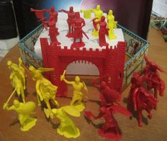 MARX IDEAL TOYS KNIGHTS CASTLE PLAYSET 16 FIGURE 4 HORSE 1960s 60mm TOY SOLDIER #IDEALTOYS