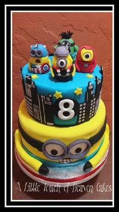 Avengers Minion style birthday cake.