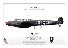 Messerschmitt Bf 110C D5+ER 7./Nachtjagdgeschwader 3 Lüneburg, 1942 https://www.aviationgraphic