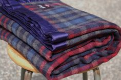 Heavy Plaid Wool Blanket, Blue Red Black Grey Tartan Plaid Wool Stadium Picnic Blanket, Thick Wool Blanket, Twin Bed Cover, Dorm