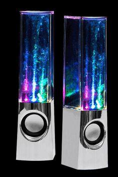Water Dancing Speakers in Chrome {great for Rock, Rap & Dubstep}