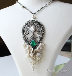 SnowFall - Pearls,green Onyx,Fine999/Sterling silver Set by VaniniDesign, via Flickr
