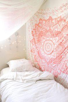 Blush Rose Mandala Tapestry
