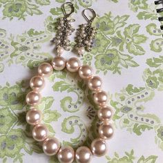 Pearls Bracelet and Earrings Light pink color, super cute No brand  Jewelry Bracelets