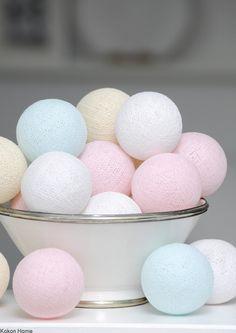 Cotton Ball Lights, łańcuch świetlny z 20 kul,świetlna girlanada
